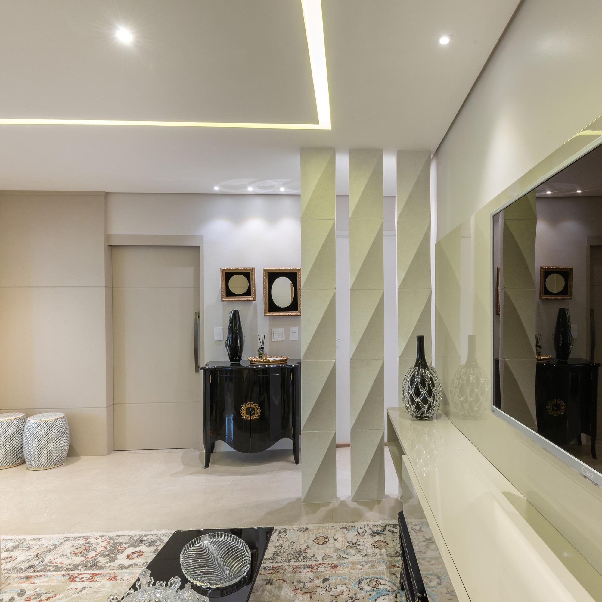 Colonna Grezzo Branco no ambiente de estar da arquiteta Heloisa Pascote. Foto de Favaro Jr.